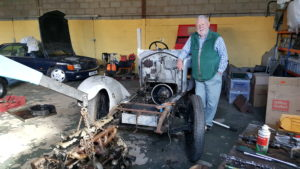 Terry Waite CBE overseeing the restoration of a 1925 Rolls Royce 20hp 3/4 drophead coupe - Derrick Wells